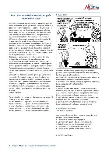 Tipos de Discurso - Exercicios - Projeto Medicina