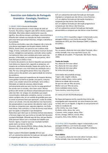 Exercícios com Gabarito de Português Gramática ... - Projeto Medicina