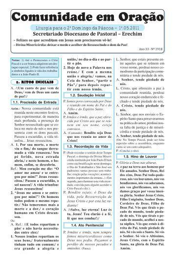 missas maio 2011.pmd - Diocese de Erexim