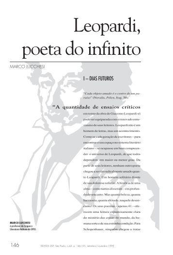 Leopardi, poeta do infinito Marco Lucchesi - USP