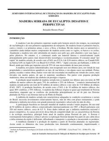 madeira serrada de eucalipto: desafios e perspectivas - Ipef