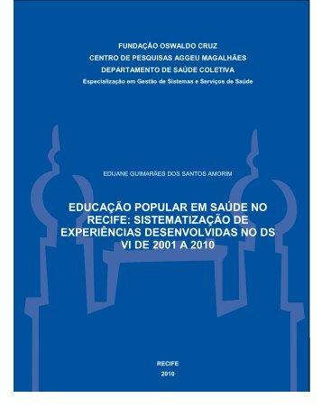 educação popular em saúde no recife - Centro de Pesquisas Aggeu ...