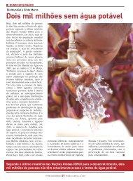 Dois mil milhões sem água potável - Fátima Missionária