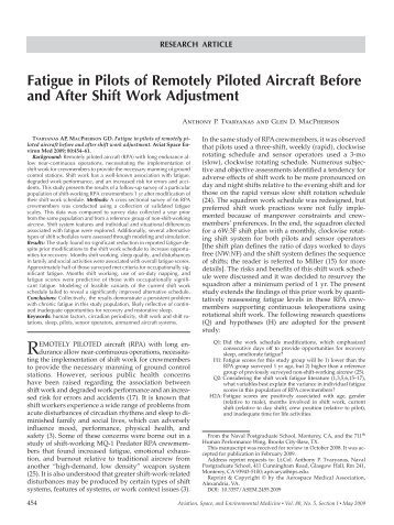 Fatigue in Pilots of Remotely Piloted Aircraft Before and After Shift ...