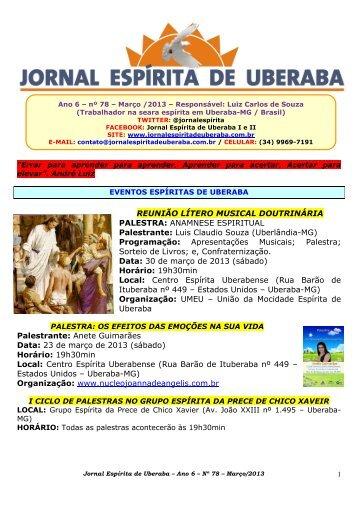 Março de 2013 - Jornal Espírita de Uberaba