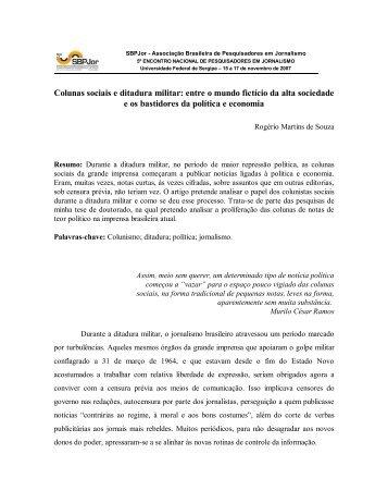 Colunas sociais e Ditadura Militar: Entre o mundo fictício ... - SBPJor
