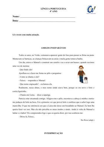 Ficha de Avaliação Mensal de Língua Portuguesa ... - Sala de Estudo