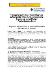 Geschäftspraxis aufsteigender ... - Transparency International Schweiz