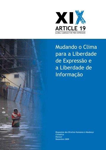 Mudando o Clima para a Liberdade de Expressão - Article 19