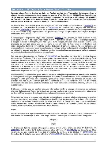Decreto-Lei n.º 197/2012 - Portal das Finanças