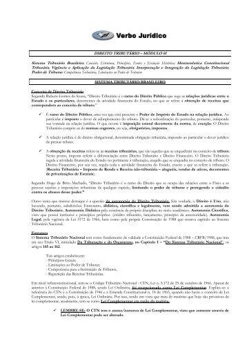 DIREITO TRIBUTÁRIO – MÓDULO 01 Tributária ... - Verbo Jurídico