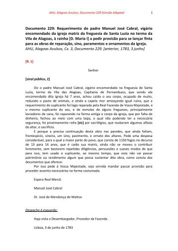 Documento 229: Requerimento do padre Manuel José Cabral ...