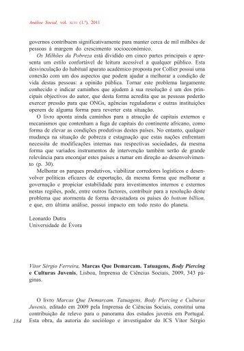 Vítor Sérgio Ferreira, Marcas Que Demarcam ... - Análise Social
