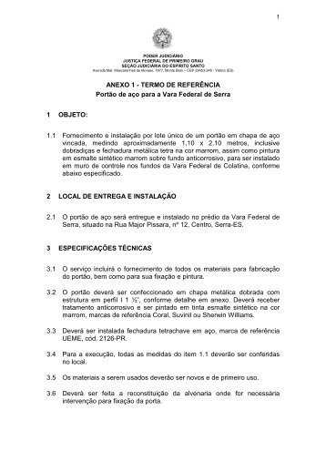 Anexo I - Justiça Federal