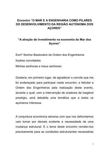 A atração de investimento na economia do Mar dos Açores