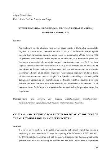 Diversidade cultural e linguística em Portugal no ... - IBERYSTYKA UW