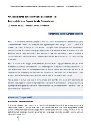 VI Colóquio Ibérico de Cooperativismo e Economia Social ... - cases