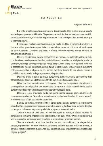 CONTO: Festa de Ontem – Joana Belarmino - Revista Blecaute