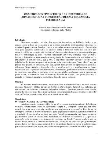 os mercados financeiros e as indústrias de armamentos - PUC-Rio