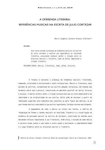 A oferenda literária: referências musicais na escrita de Julio ... - FALE