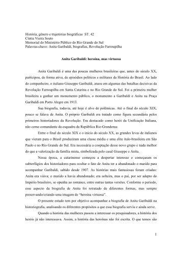 1 História, gênero e trajetórias biográficas ST. 42 Cíntia Vieira Souto ...
