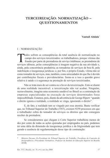 TERCEIRIZAÇÃO: NORMATIZAÇÃO – QUESTIONAMENTOS - TST