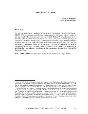 PAI NÃO DECLARADO - Psicanálise & Barroco