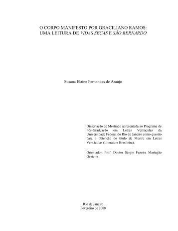 o corpo manifesto por graciliano ramos - Faculdade de Letras - UFRJ