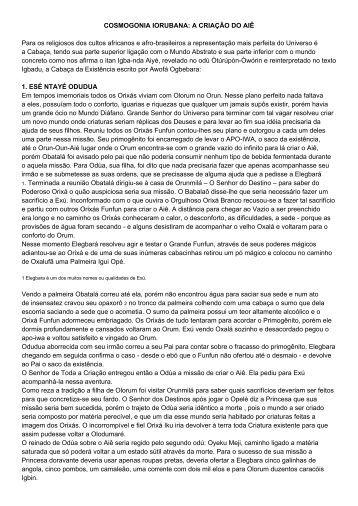COSMOGONIA IORUBANA: A CRIAÇÃO DO AIÊ Para os ... - lituca