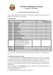 edital de processo seletivo de estagiários nº - Prefeitura de Vinhedo