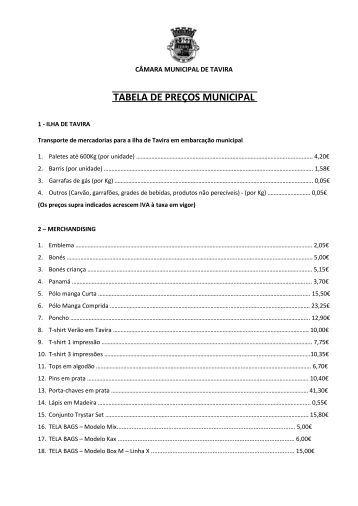 TABELA DE PREÇOS - Câmara Municipal de Tavira