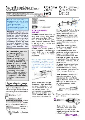 Alça, faixa batida ou presilha (passador) - Moldes Roberto Marques