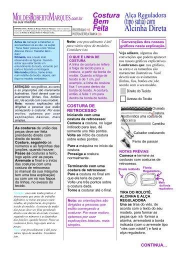 Alça Reguladora Com Alcinha Direta - Moldes Roberto Marques