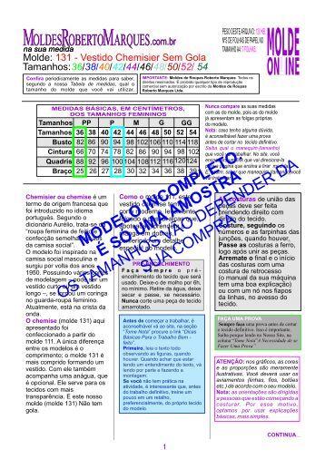Molde-131_vestido-chemisier-sem gola-ver - Moldes Roberto ...