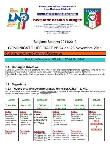 COMUNICATO UFFICIALE N° 24 del 23 Novembre ... - PSV Calcio a 5