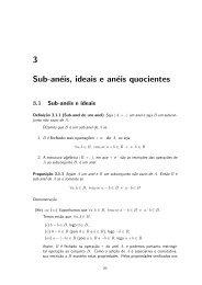 3 Sub-an¶eis, ideais e an¶eis quocientes