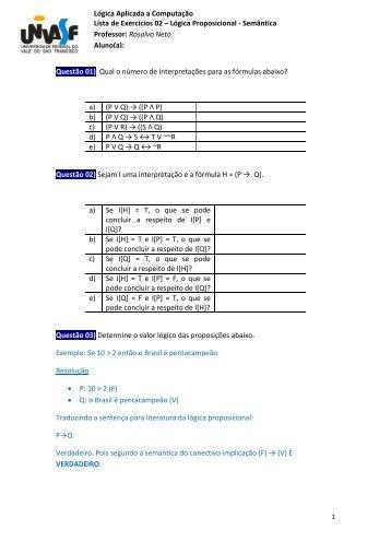 Lista de Exercicio 02 - Univasf
