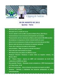 09 DE AGOSTO DE 2012 Quinta - feira - Sindimetal/PR