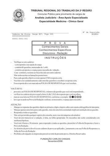 Prova - Analista Judiciário - Área Apoio Espec. - Central de Concursos