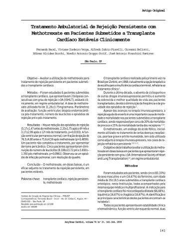 Tratamento Ambulatorial de Rejeição Persistente com Methotrexate ...