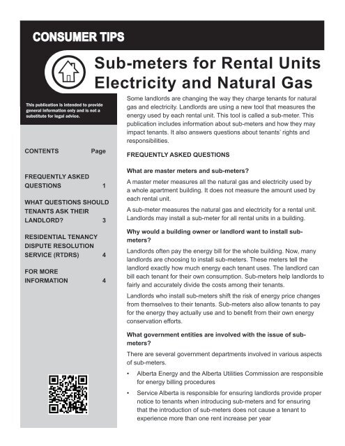 Sub-meters for Rental Units - Electricity and     - Service
