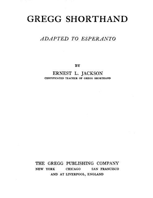 Gregg Shorthand Adapted To Esperanto