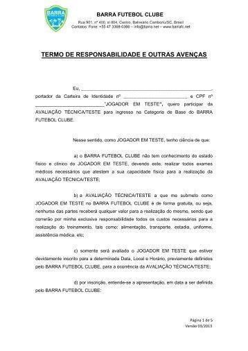 Termo de Responsabilidade - Maior de Idade - Barra Futebol Clube