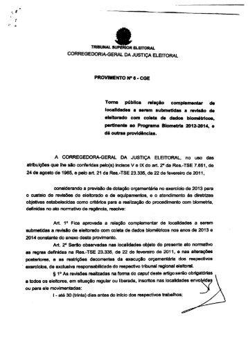 Provimento CGE 06/2013