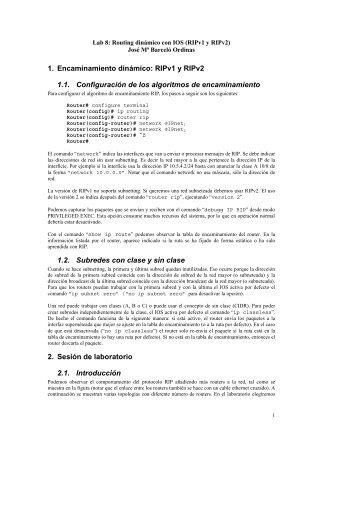 1. Encaminamiento dinámico: RIPv1 y RIPv2 1.1 ... - Redes-Linux.com