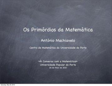 Os Primórdios da Matemática - Universidade Popular do Porto