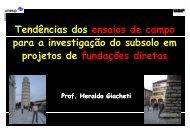 Tendências dos ensaios de campo para a investigação do subsolo ...