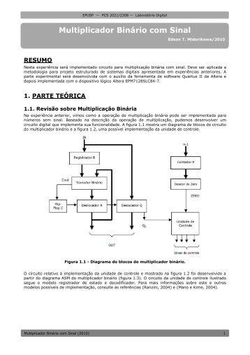 Multiplicador Binário com Sinal - PCS - USP