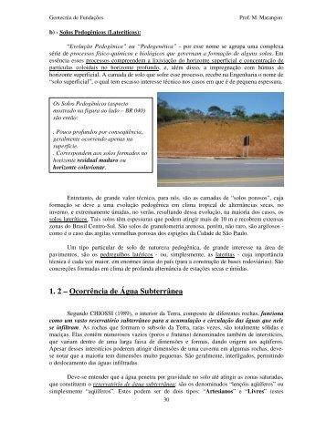 1. 2 – Ocorrência de Água Subterrânea