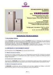 Informações técnicas linha Vanguard - Guardian Equipamentos ...